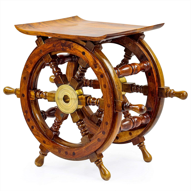 Amazon Com Wooden Hand Crafted Ship Wheel Table Nagina International Home Decor Nagina International 18 Inches Everything Else