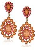 Resin Bead and Crystal Statement Earrings, 2.36""