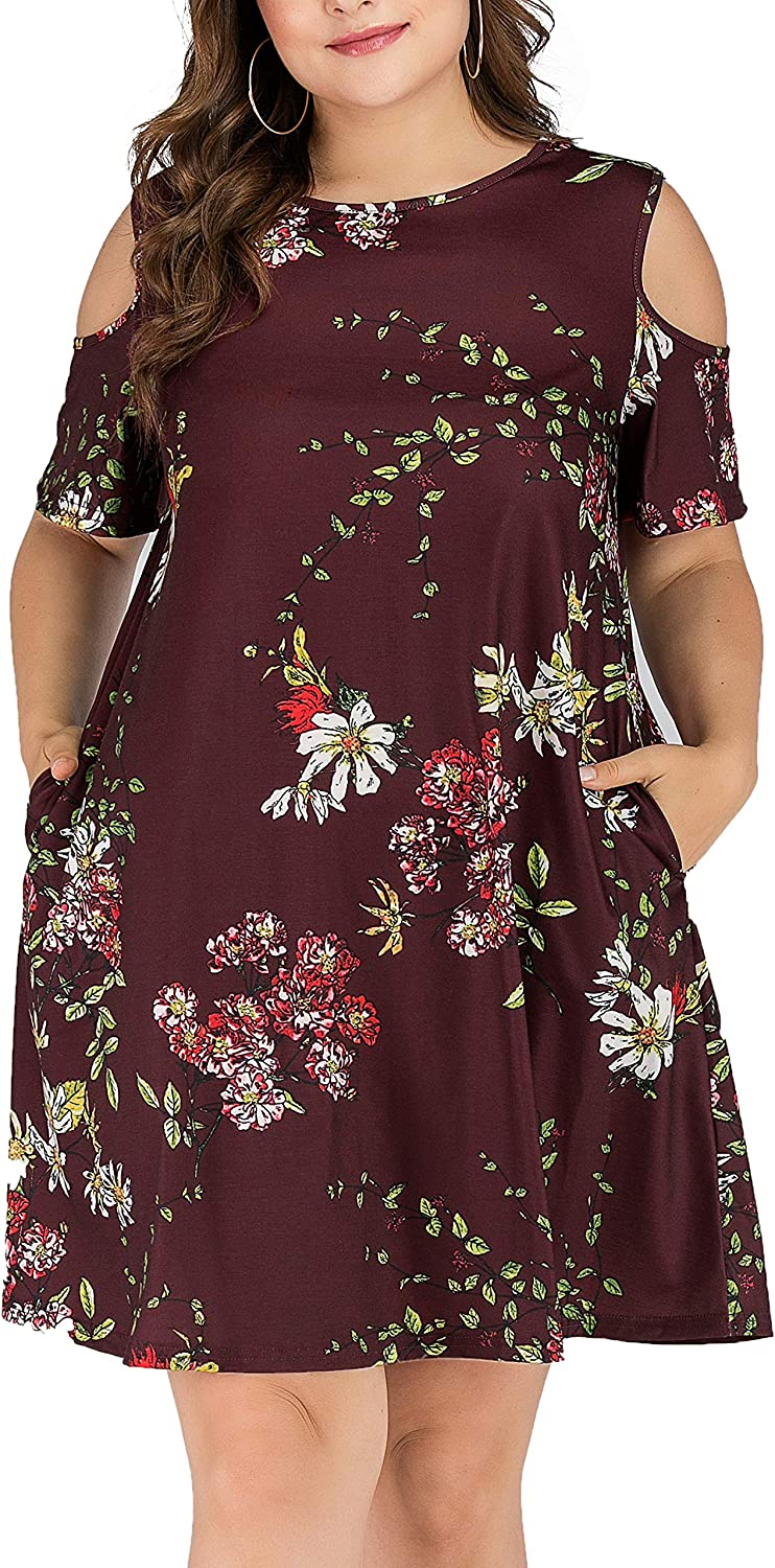 HBEYYTO Women Plus Size Dresses Cold Shoulder Short Sleeve Casual Loose T-Shirt Swing Dress with Pockets