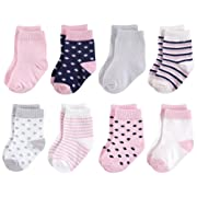 Touched by Nature Baby Organic Cotton Socks, Navy and Pink 8Pk, 0-6 Months
