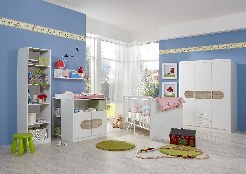 Babyzimmer-Set LILLY 5tlg Komplett Bett Wickelkommode Unterschrank Schrank Regal Abs. San Remo-Eiche