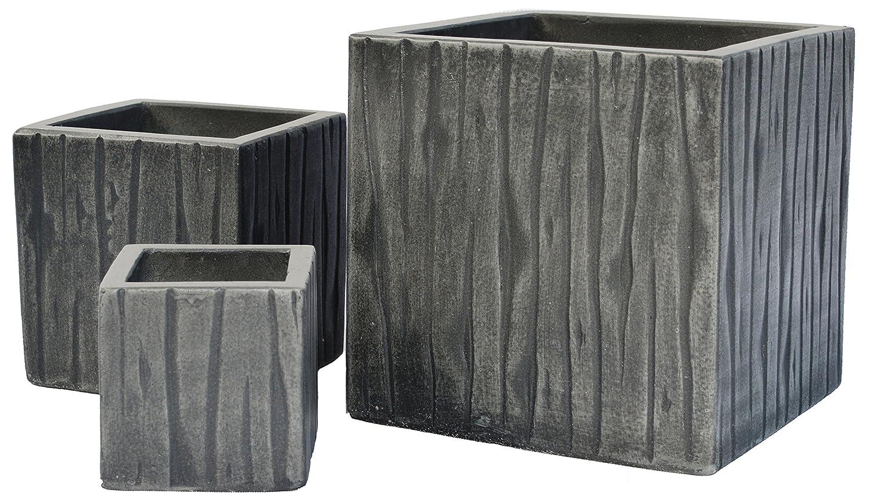 Cubes Timber Natural Cement Fiber Planter Set, Color Charcoal
