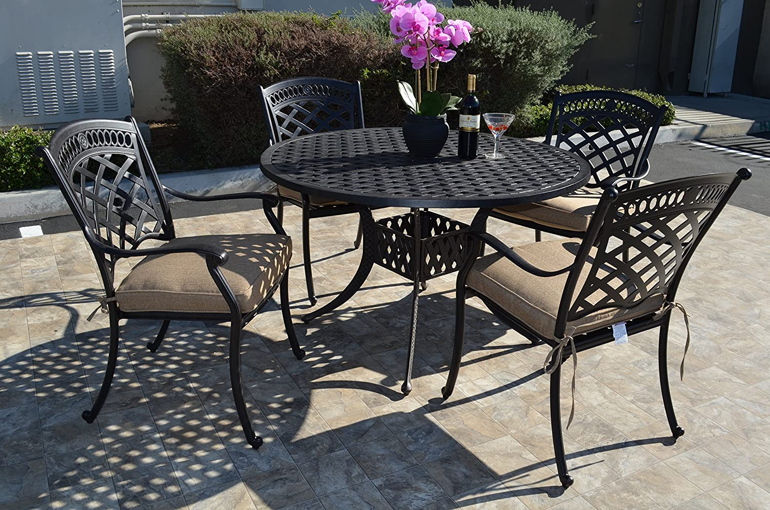 St. Augustine Cast Aluminum Powder Coated 5pc Outdoor Patio Dining Set with 48 Round Table with Sunbrella Cushions- Antique Bronze