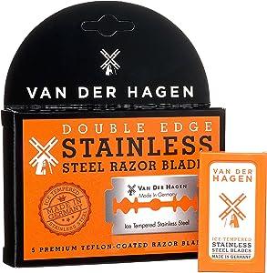 Van Der Hagen Stainless Steel Double Edge Razor Blades, 5 Count (Pack of 3)