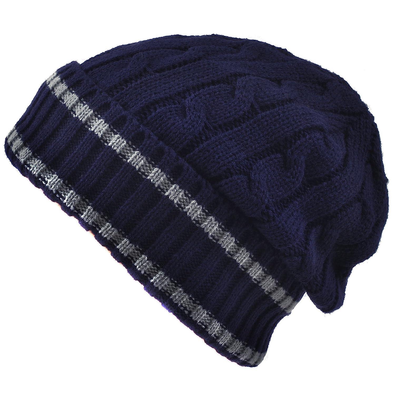 メンズ冬ニット暖かい帽子ストライプビーニースカルキャップ One Size ブルー B01M0F6HFC