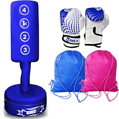Kids Junior Boxing Punch Bag Set Free Standing Inflatable Boxing Punch Bag UK