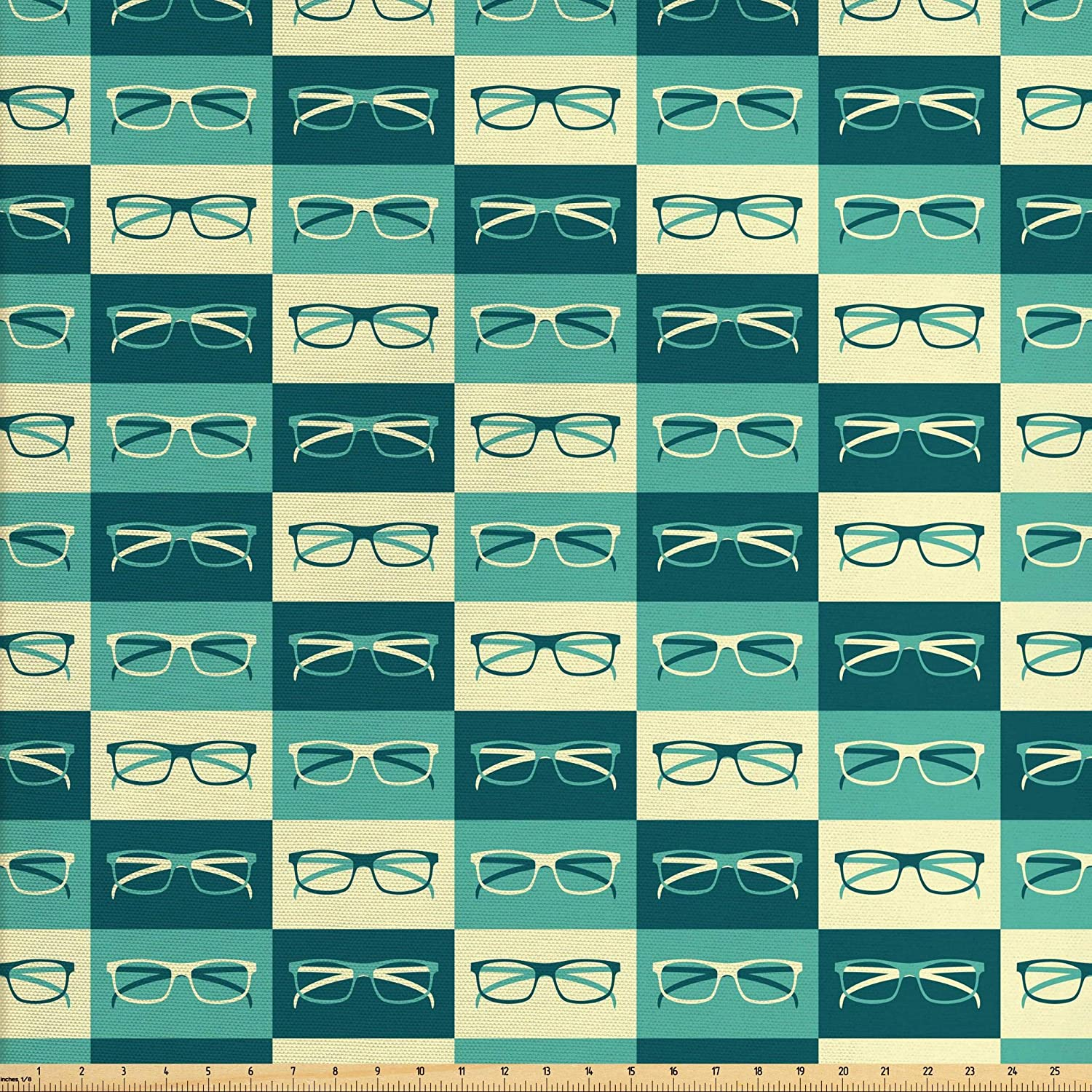 Ambesonne Indie Fabric by The Yard, Pattern with Eyeglasses in Vintage Style Hipster Cool Design Modern, Decorative Fabric for Upholstery and Home Accents, 2 Yards, Petrol Blue