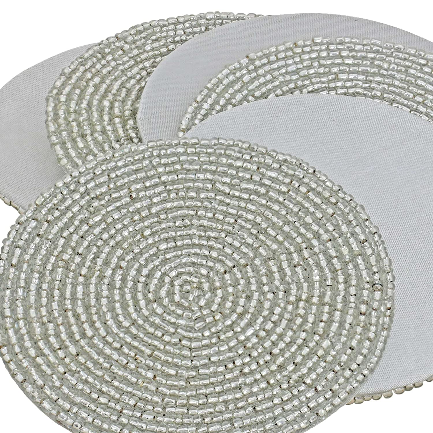 Silver Round Beaded Placemats Round Designs