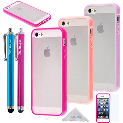the latest 278d3 1f551 Wisdompro iPhone SE 5s 5 Case, 3 Packs Colorful Soft TPU Gel + Clear Hard  PC Hybrid Bumper Protective Case Covers for Apple iPhone 5/5s/SE