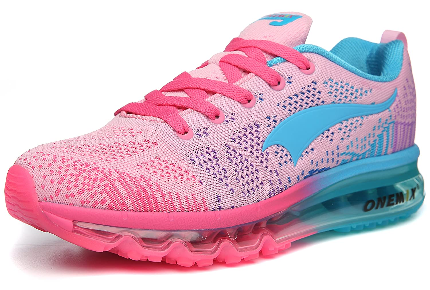 ONEMIX Womens Air Cushion Outdoor Sport Running Shoes Lightweight Casual Sneakers B0788MMV8C Men 5.5(M)US 38EU/Women 7(M)US 38EUR|Pink/Blue