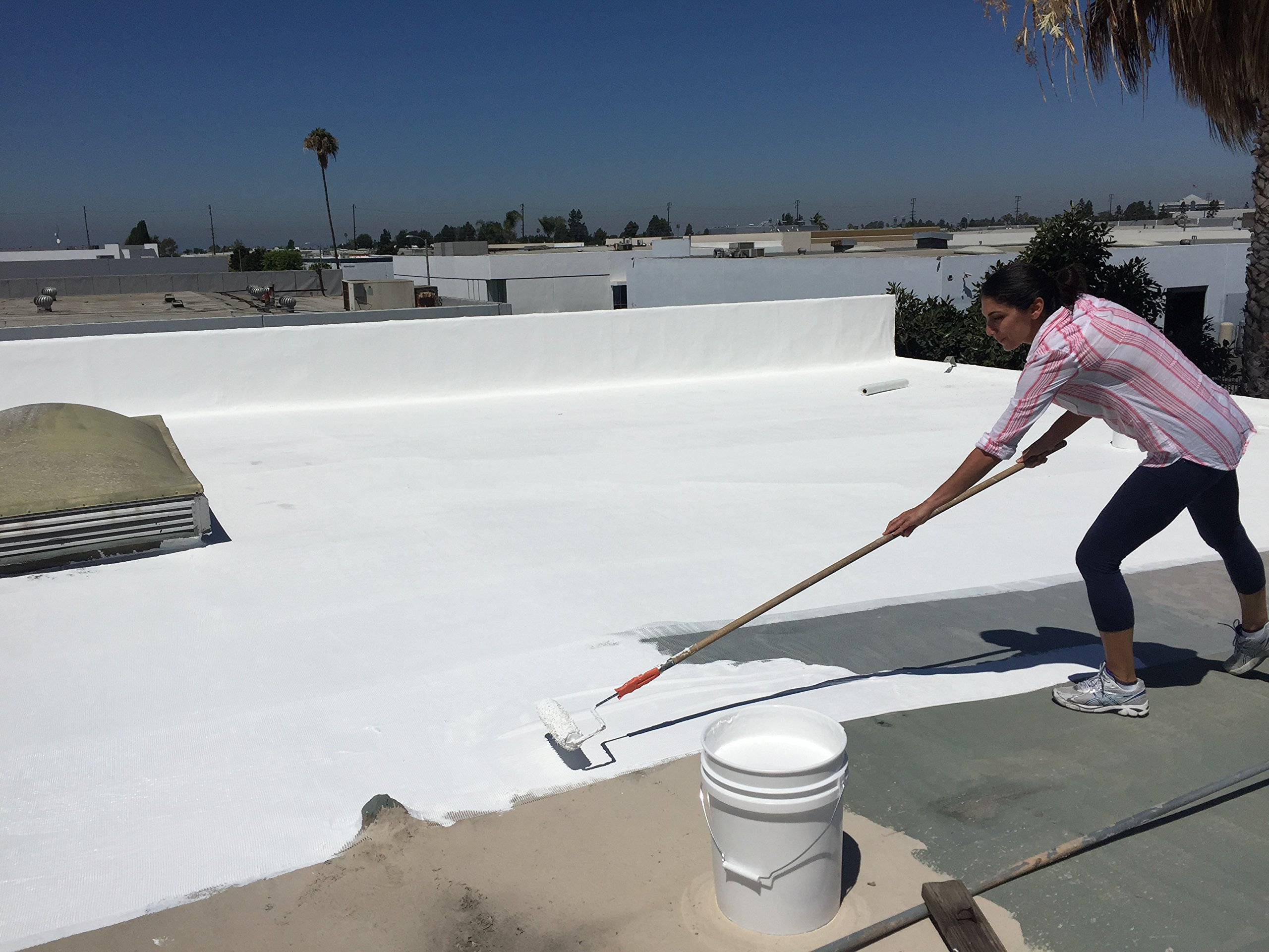 Deck Flex Elastomeric Roof Coating (5 Gallons) - Siliconized, Weather-Resistant White Reflective Protection – Up to 30% Energy Savings – Paint or Roll On RV, Metal, Asphalt, Flat or BUR Roofing by Deck Flex