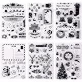 Whaline 6 Sheets Christmas Theme Silicone Clear Stamps Seal Blocks for Card Making Scrapbooking Decoration Words…