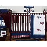 Sweet Jojo Designs 11-Piece Red, White and Blue Vintage Aviator Airplane Plane Baby Boy Bedding Crib Set Without Bumper