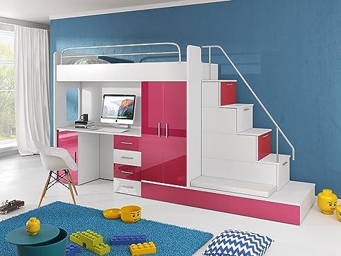 Kinderhochbett treppe  Hochbett TOMI - Schreibtisch, Schrank, Treppe und Gästebett mit ...