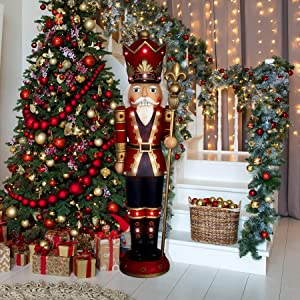 Fraser Hill Farm FFRS060-3NC-RD 5-Ft. Indoor/Outdoor Musical Nutcracker Statute Holiday Decoration, Red