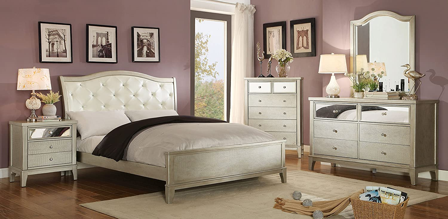 silver bedroom set. Amazon com  Furniture of America Liselle Contemporary 2 Piece Dresser and Mirror Set One Size Silver Gray Kitchen Dining