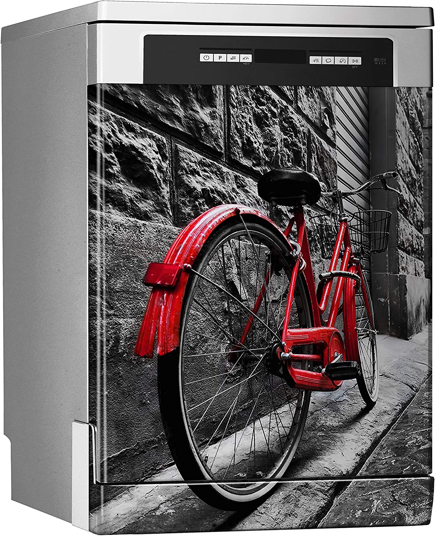 MEGADECOR Vinilo Decorativo para Lavavajillas, Medidas Estandar 67 cm x 76 cm, Bicicleta Roja Vintage Retro en la Calle de Adoquines en el Casco Antiguo