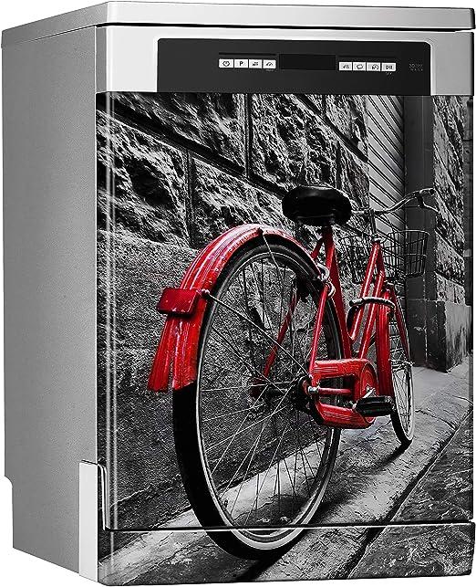 MEGADECOR Vinilo Decorativo para Lavavajillas, Medidas Estandar 67 cm x 76 cm, Bicicleta Roja Vintage Retro en la Calle de Adoquines en el Casco Antiguo: Amazon.es: Hogar