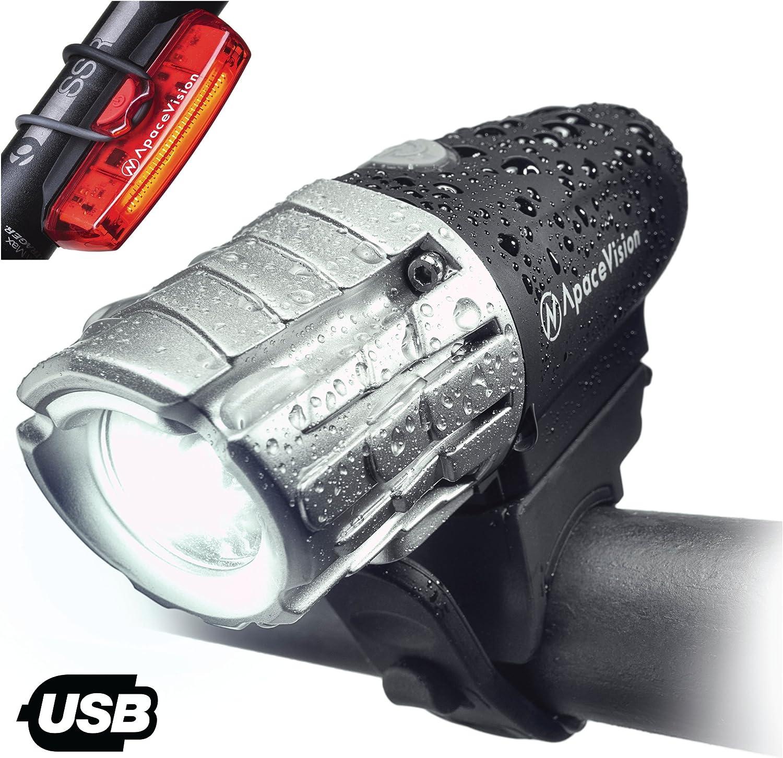 Apace Vision Set de luces Bicicleta Recargable USB - Luz LED delantera y trasera 300 Lúmenes potente - Luz Delantera y Trasera Muy Luminosa Seguridad Óptima Ciclismo
