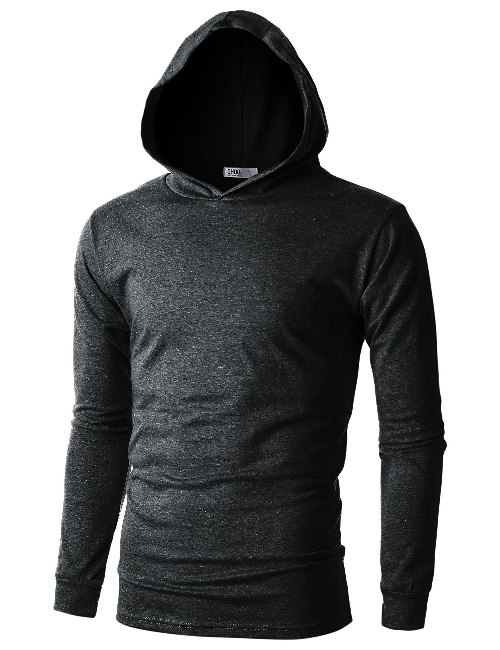 Ohoo Mens Slim Fit Long Sleeve Lightweight Echo Knit Hoodie with Kanga Pocket/DCF110-CHARCOAL-S