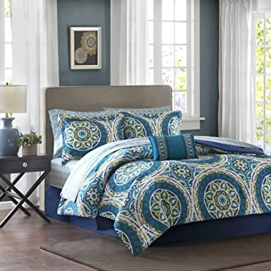 Madison Park Essentials MPE10-058 Serenity Complete Bed and Sheet Set, Blue