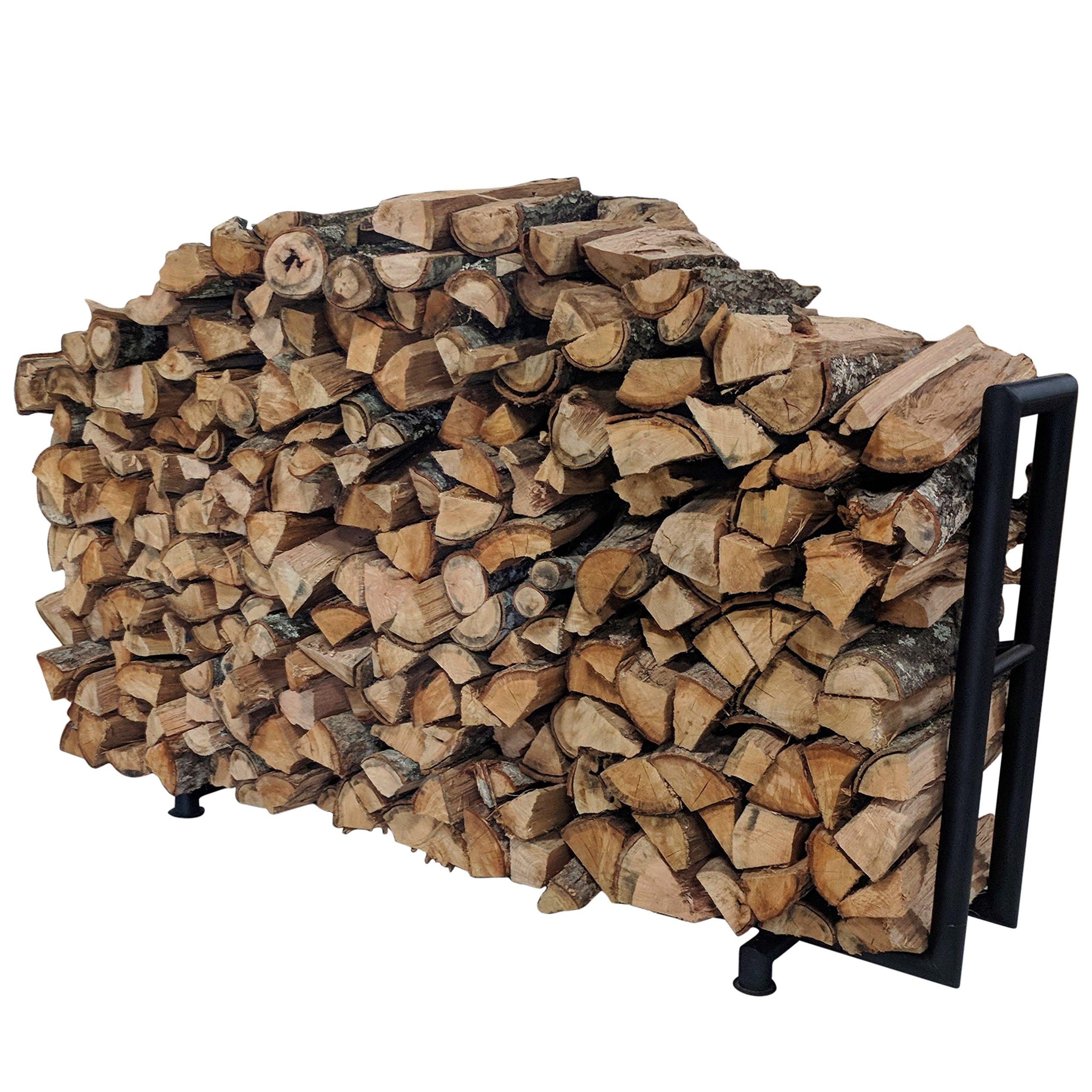 Titan Outdoors Rectangular Heavy Duty Outdoor Log Rack | 6 Feet, Black