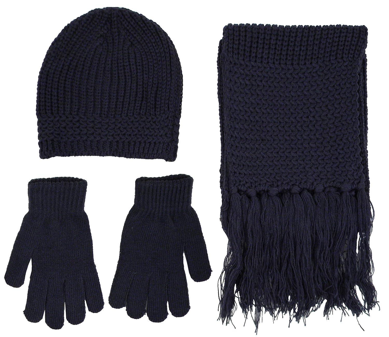 Simplicity Men Women Knit Winter Ski Set - Beanie, Gloves and Scarf 57_Blue