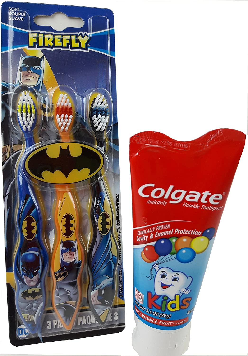 Amazon.com: Kids Toothbrushes Batman Theme 3-Pack, With Colgate 3.5 oz Toothpaste: Beauty