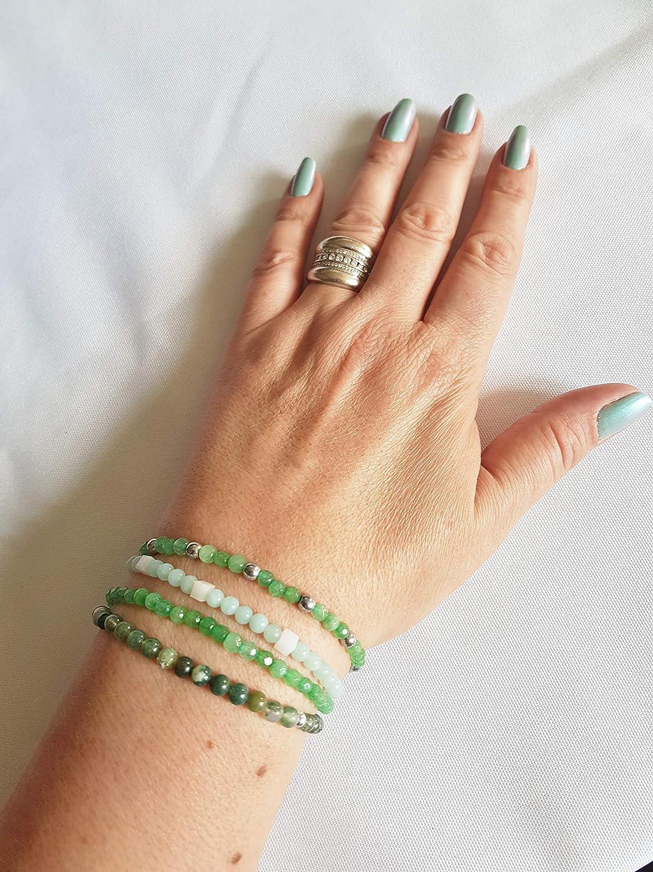 Bracelet Agate Mousse de 4 mm pierre naturelle