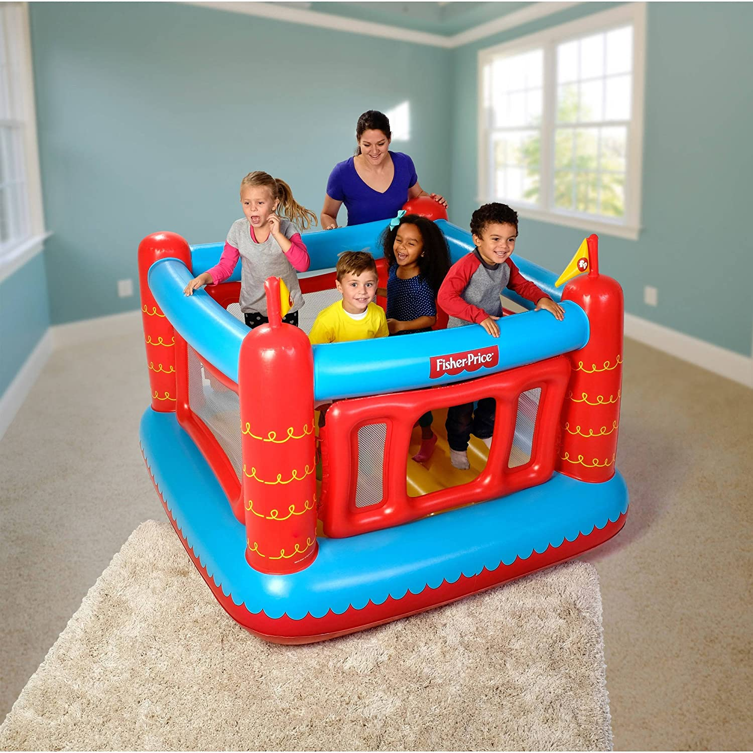 Amazon.com: Fisher Price Bouncetastic Inflatable Castle Bouncer With ...