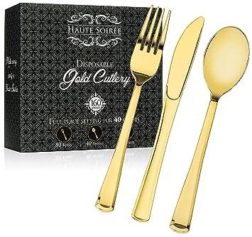 160 piezas oro Heavyweight desechables - cubertería de plástico tenedores de cubiertos 12 cuchillos - paquete incluye 80, 40 cucharas, 40 cuchillos - Haute ...