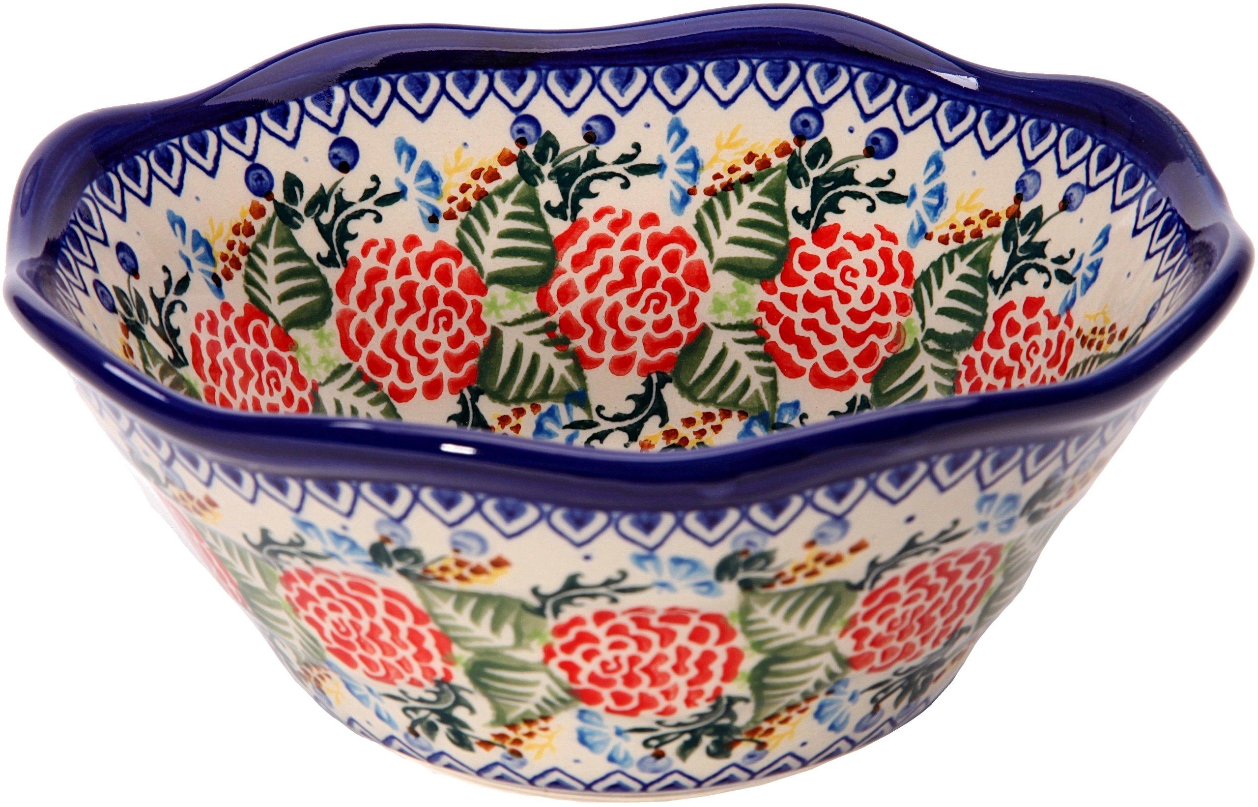 Polish Pottery Ceramika Boleslawiec 0423/280 Royal Blue Patterns with Red Rose Motif Bowl Viki 1, 3-1/4 Cup