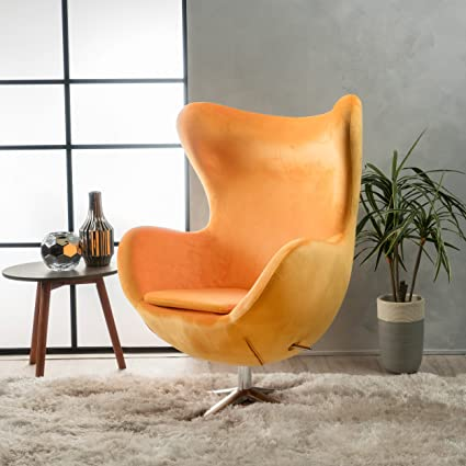 Glendon Arne Jacobsen Style New Velvet Swivel Contour Egg Chair