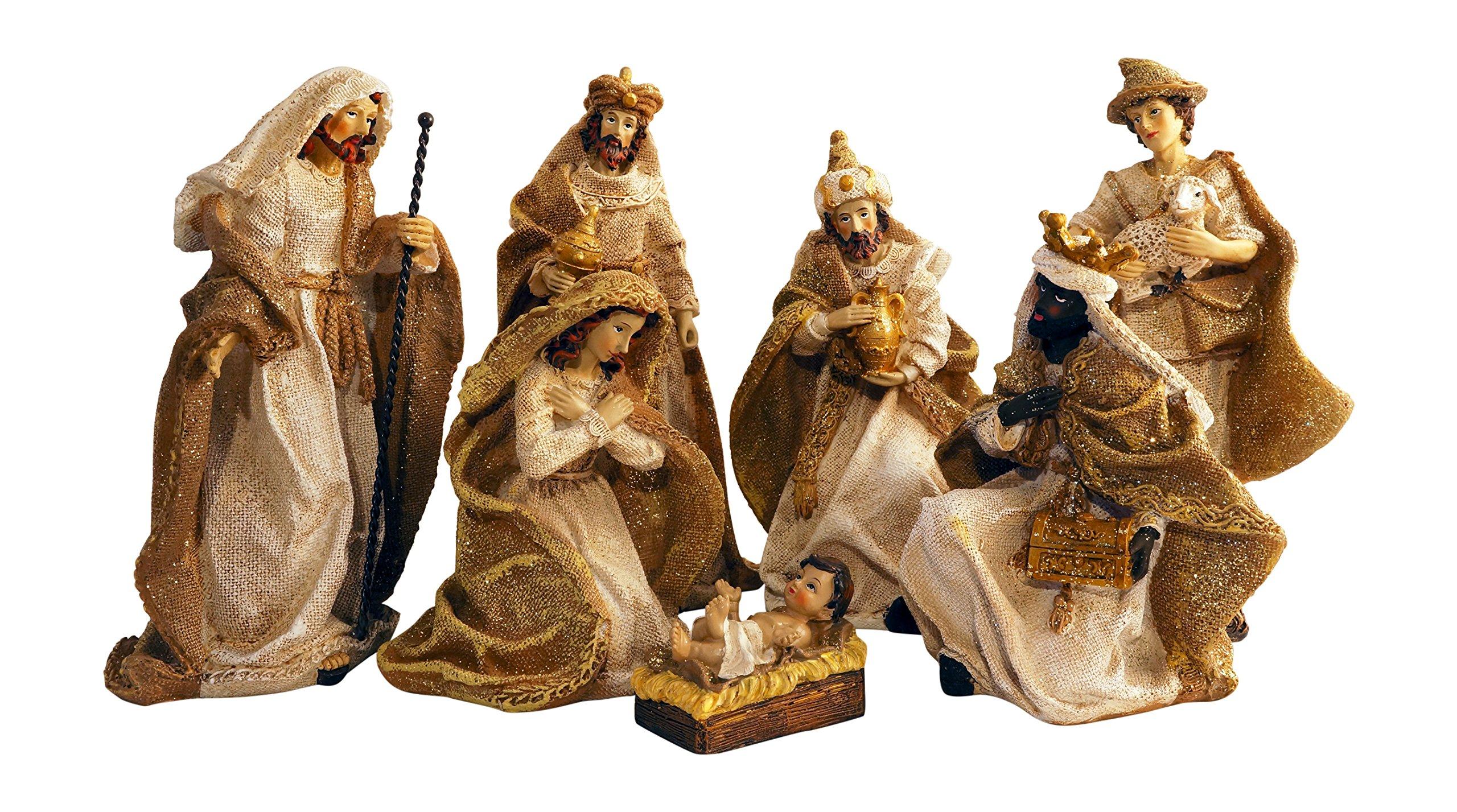 Gold Metallic Glittered Burlap Christmas Nativity Scene, Set of 7 Rearrangeable Figures