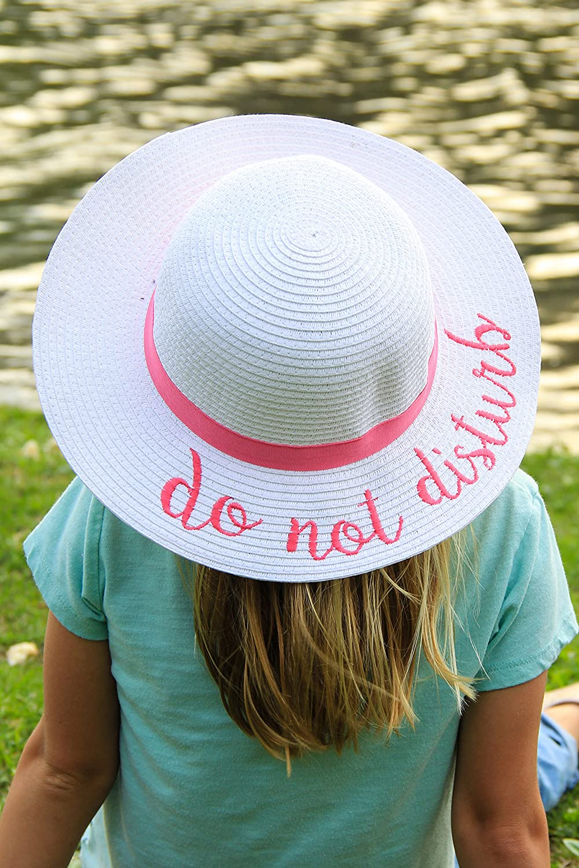 H-3017-DND24 Girls Sun Hat White Do Not Disturb