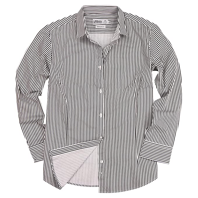 38545bae Urban Boundaries Womens Basic Tailored Long Sleeve Cotton Button Down Work  Shirt (Black/White