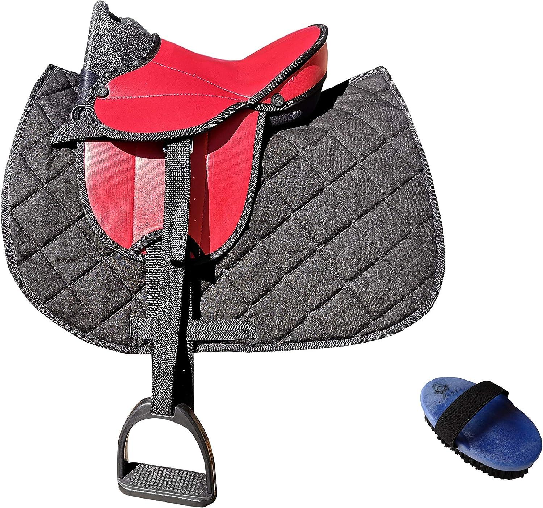 Markgraf German Riding My Little Pony - Sillín para bicicleta con accesorios (sillín rojo y raqueta negra)