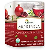 Grenera Moringa Pomegranate Infusion/Tea - 20 Tea Bags / Box- USDA Organic Certified, Made with Organic Ingredients