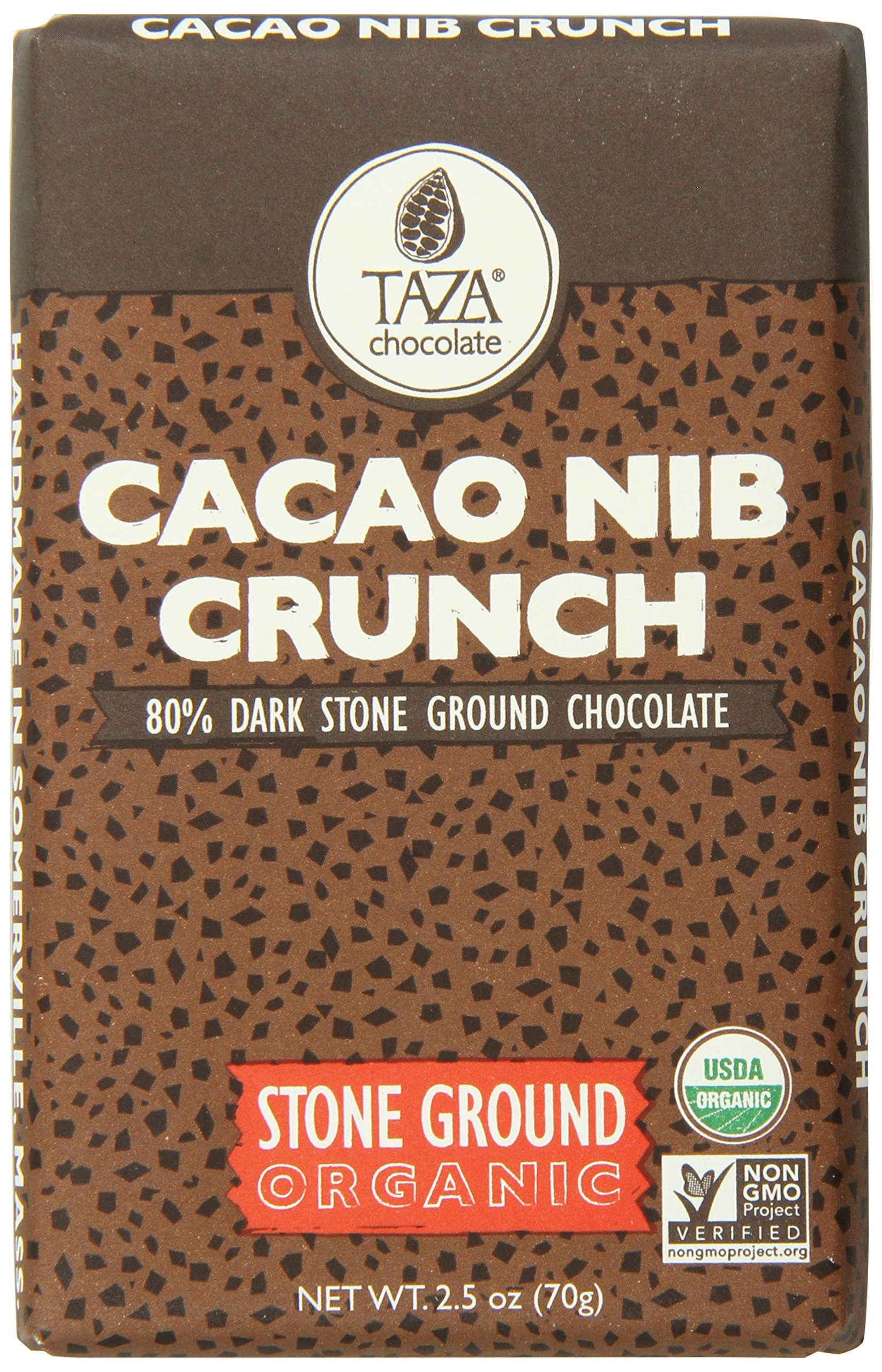 Taza Chocolate | Amaze Bar | Cacao Nib Crunch | 80% Stone Ground | Certified Organic | Non-GMO | 2.5 Ounce (1 Count)