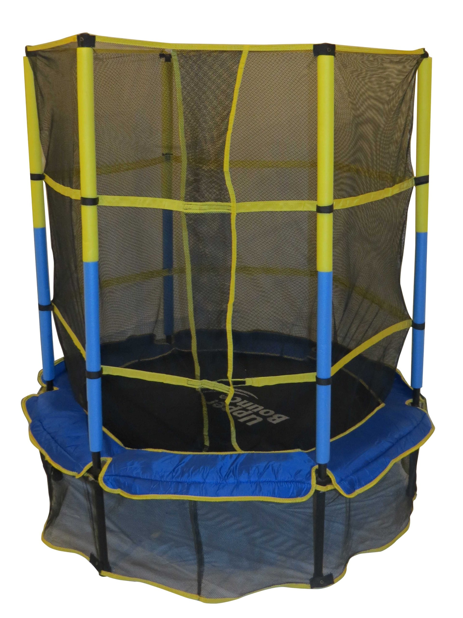 """Upper Bounce 55""""Kiddy Trampoline& Enclosure Set–Drop-Click Easy AssemblyRound-OutdoorTrampoline forKids,Supports Up to120lbs"""