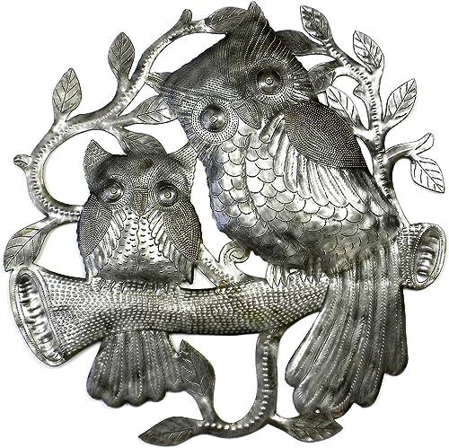 Global Crafts 24 Recycled Handmade Haitian Metal Wall Art Bird Motif, Pair of Owls