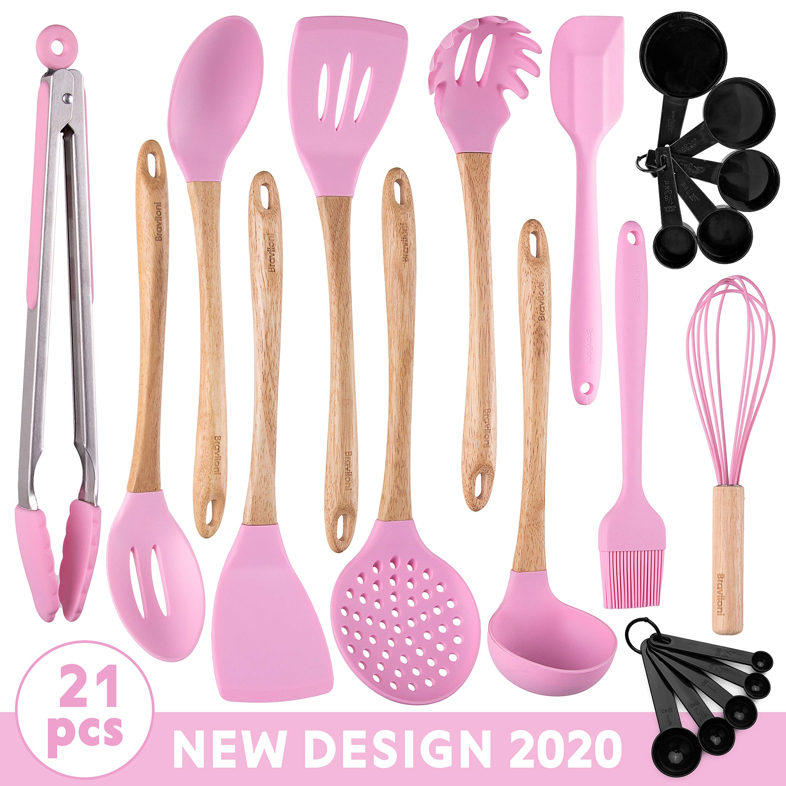 Stylish Kitchen Utensils - 21-Piece New Design Cooking Utensil Set - Wooden Bamboo & Silicone ECO Kit - Ladle, Spatulas, Spoons, Server, Brush, Measuring Cups, Whisk, Strainer, Tongs - Great Gift Idea by Braviloni