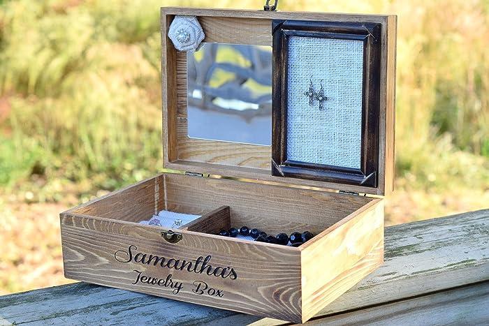 Amazoncom Personalized Jewelry Box Rustic Jewelry Box Jewelry
