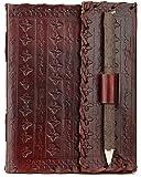 INDIARY Luxusnotizbuch Tagebuch Lederbuch aus echtem Büffelleder und handgeschöpften Papier - Art Nouveau