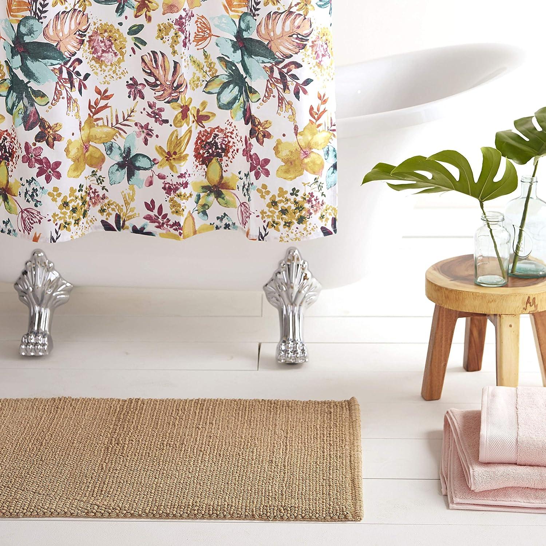 """Home Dynamix Nicole Miller Newton Reversible Cut & Loop Pebbles 2-Piece Cotton Bath Mat Set, 17""""x24""""/21""""x34"""" Beige"""