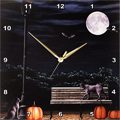 3dRose dpp_28894_2 Autumn Night in The Park with Black Cats and Pumpkins-Wall Clock, 13 by 13-Inch