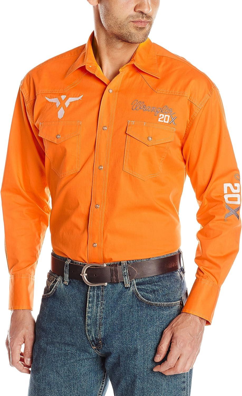 Wrangler Hombre Western Logo PBR 20 x Naranja Camisa: Amazon ...