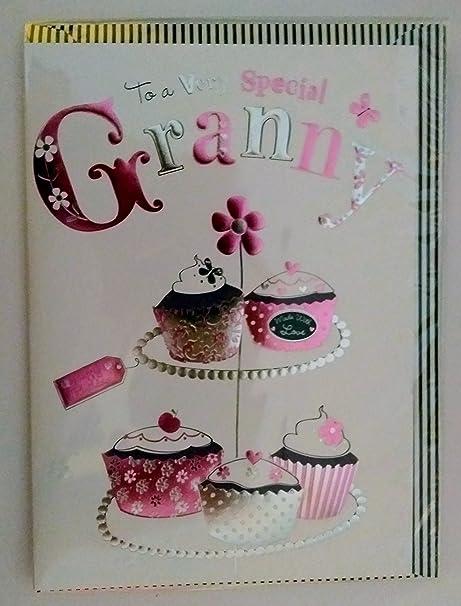 Tarjeta de cumpleaños Cupcakes abuela especial: Amazon.es: Hogar