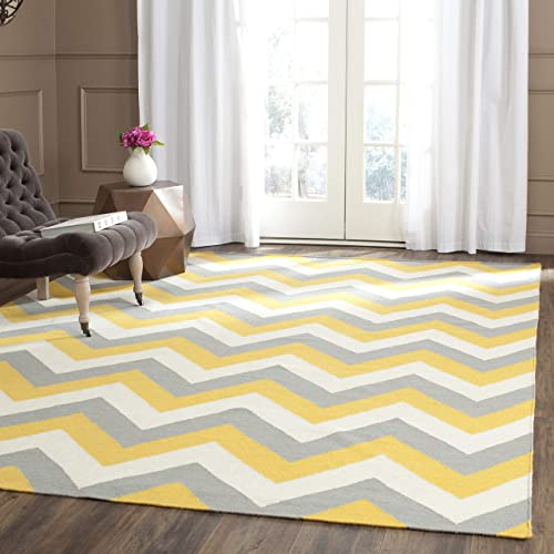 Safavieh Dhurries Collection DHU640A Hand Woven Gold and Grey Premium Wool Area Rug 8 x 10