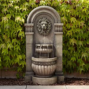 "John Timberland Lion Face Roman Outdoor Floor Water Fountain with Light LED 50"" High 2-Tier for Yard Garden Patio Deck Home"